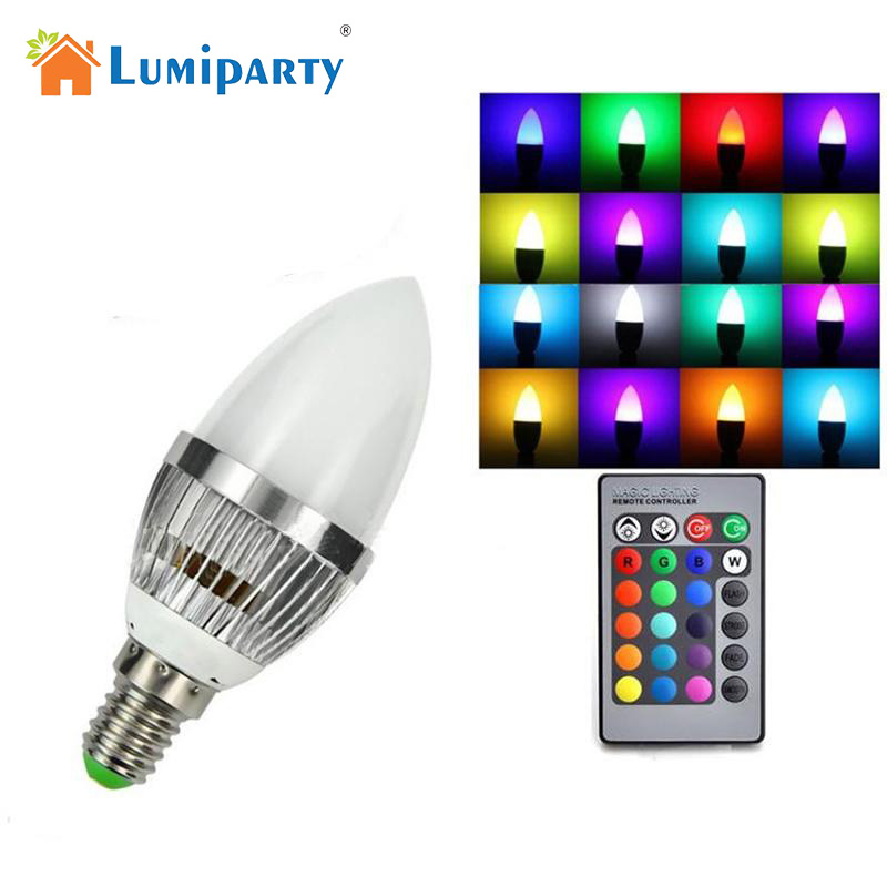 LumiParty E14 3W RGB LED Candle-like Shape Light Bulb IR Wireless Remote Control 16 Colors Changing Adjustable Bulb Lamp jk35