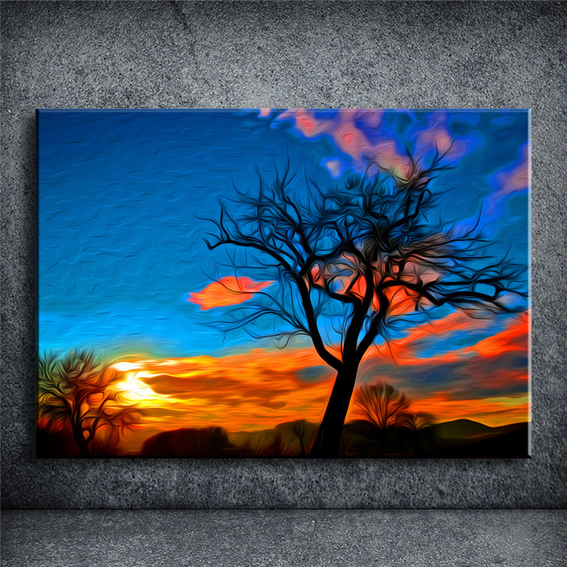 e94526d23dc No Frame wall painting HD Picture Modern Wall Decor Canvas Print Painting  Sunset tree Abstract home decor paintings JHBQ182