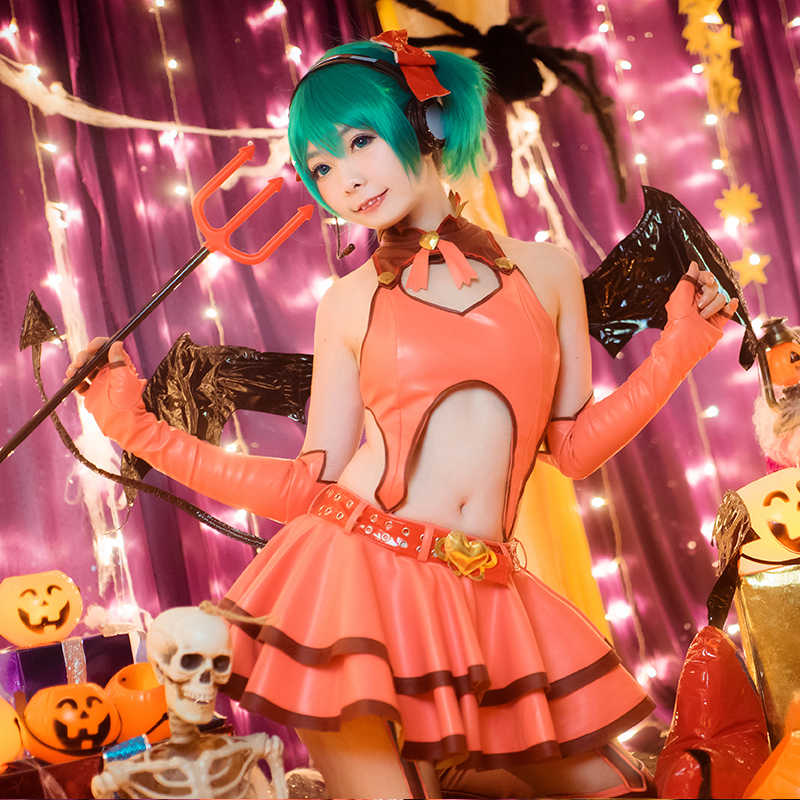 Anime! Vocaloid Hatsune Miku Heart Hunter Little Devil Lolita Gothic  Uniform Cosplay Costume For Women Free Shipping