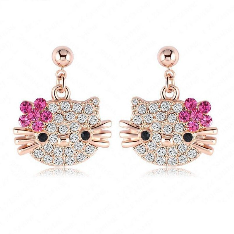H:HYDE Lovely Cat Flower Stud Earring for Girls Rose Gold Color Austrian Crystal Kitten Earings SWA Elements Brinco