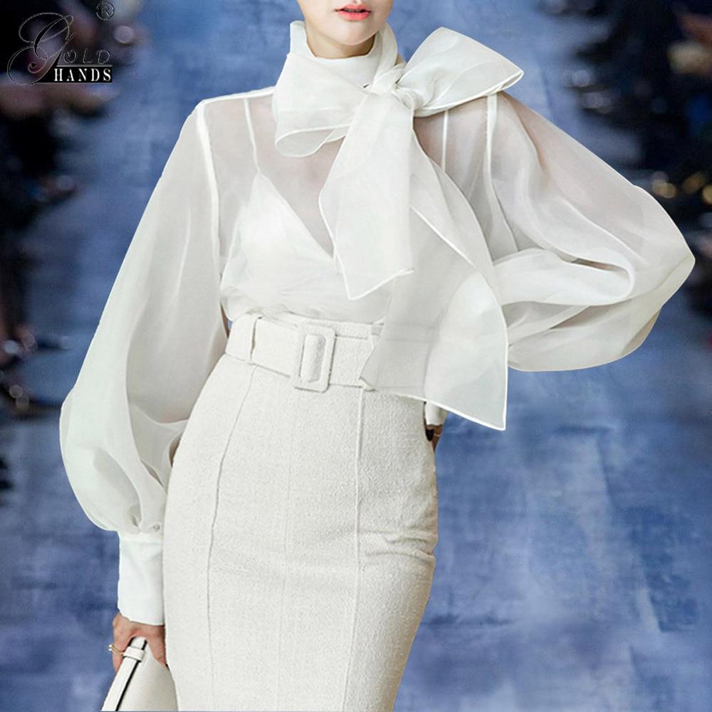 Gold Hands 2019 New Spring Summer Fashion Women Clothing Bow Collar Lantern Sleeves Organza Sexy Shirt Female Blouse Free Ship