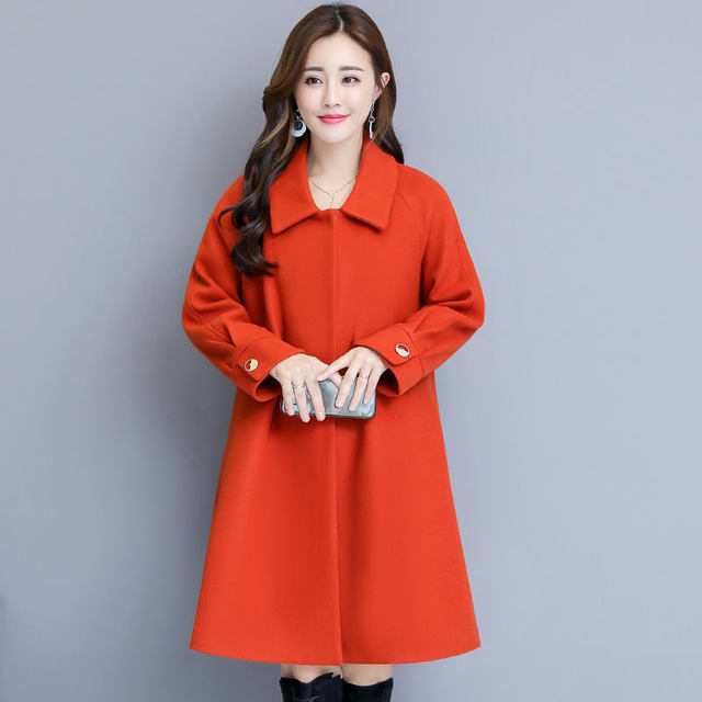 Woolen Coat Women Autumn Winter Cloak Style Long Wool Coat Plus Size Warm Parka Overcoat Blue Red Women Coat Abrigos Mujer C4839 2