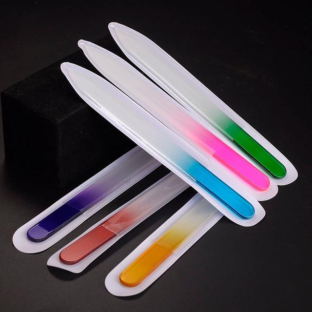 6 шт./лот Мода Пилочка для ногтей Прочный Хрусталя Nail Art Инструмент Маникюр Устройства Файл для Девушки Женщин Профессиональная Полировка