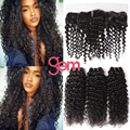 Peruvian Lace Frontal Closure with Hair Bundles 6A Queen Hair Peruvian Deep Wave Curly Virgin Hair with 13x4 Ear to Ear Fraontal