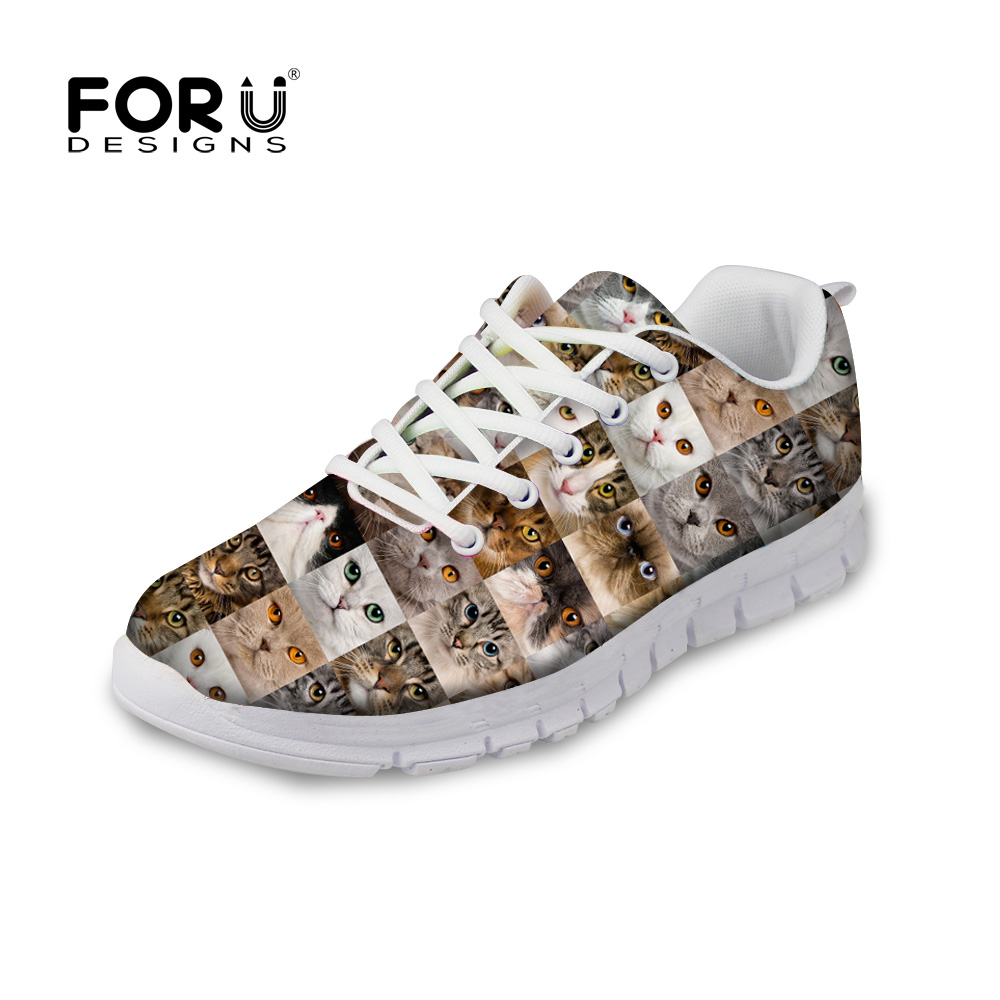 FORUDESIGNS Fashion Women Autumn Casual Flat Shoes Novelty Custom Animal Cats Puzzle Printed Lace-up Flats for Lady Comfortable