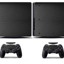 Black Carbon Fiber PS4 Slim Skin PS4 Slim Sticker Vinly Skin Sticker for Sony PS4 Slim PlayStation 4 Slim and 2 controller skins