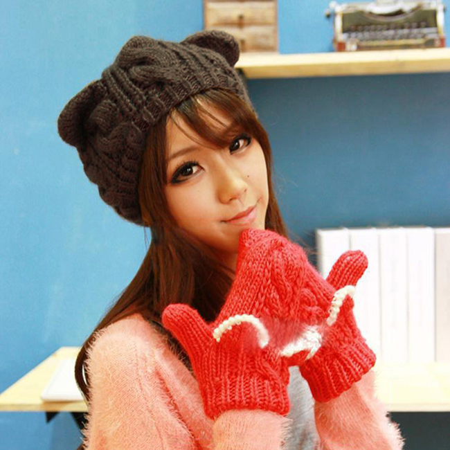 Fashion Korean Women lady Devil horns Cat Ear Crochet Braided Knit Ski Beanie Wool Hat Cap winter warm beret 2078 футболка toy machine devil cat black