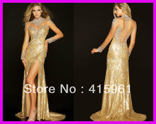 2014 New Arrival Gold Crystal Sequins Long Sleeve Formal Pageant Prom Evening Dresses E4321