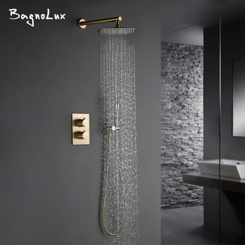 Luxury Thermostatic Shower Set With handheld Shower Burnished Gold Wall Mounted Shower System Concealed Waterfall In Wall Rain promotion black shower column tower single handle wall mount rain waterfall with massage jets shower system brass hand shower