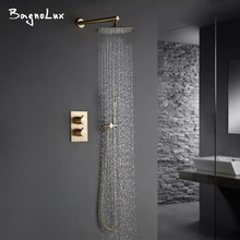 Luxury Thermostatic Shower Set With handheld Shower Burnished Gold Wall Mounted Shower System Concealed Waterfall In Wall Rain(China)
