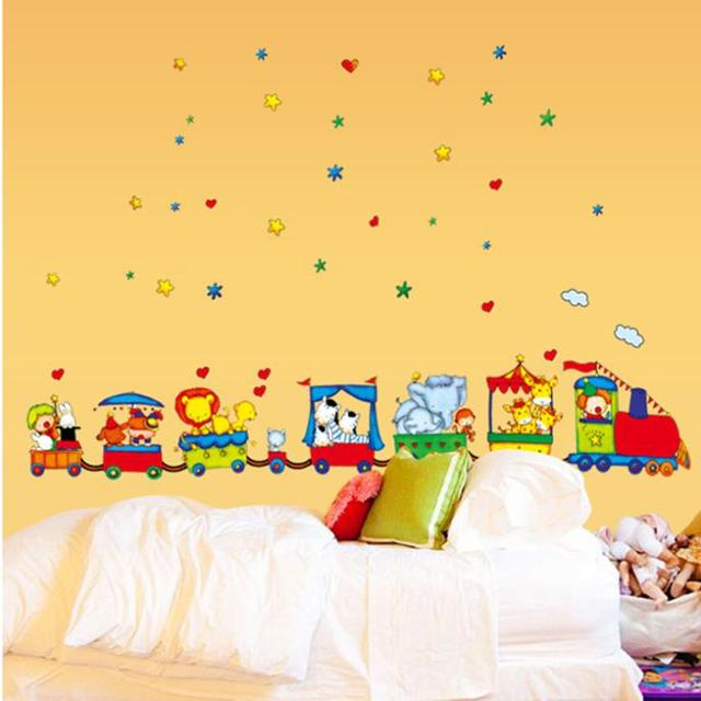 Large Cartoon Circus train kids stickers wall vinyl room decoration ...