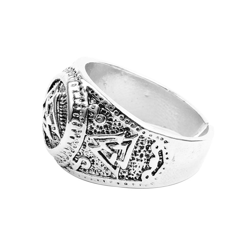 New Valknut Signet Ring Scandinavn Odin Symbol Norse Viking Jewelry Men Boys Silver Plated Biker Ring Fashion Jewelry