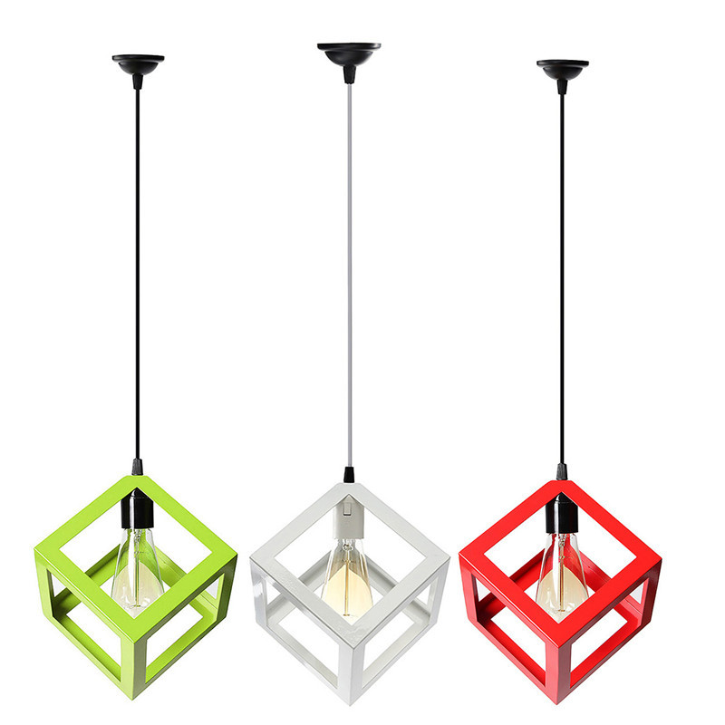 3 Color LED Pendant Light Industrial Cube Metal Pendant Light Accessory Loft Ceiling Lamp for Coffee/Bedroom/Study Room/Corridor