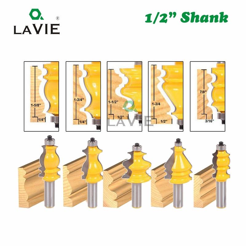 LAVIE 5 pcs 1/2 Inch Shank 12.7mm CNC Ligne Couteau Ensemble Boîtier & Base de Moulage Routeur Bit Bois Cutter fraise MC03087