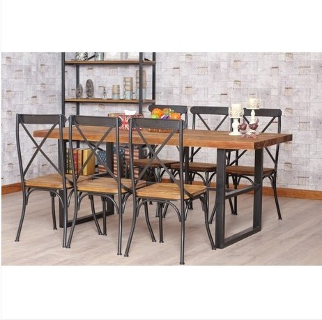 American Country To Do The Old Wood Furniture , Wrought Iron Dining Table  And Chairs Retro