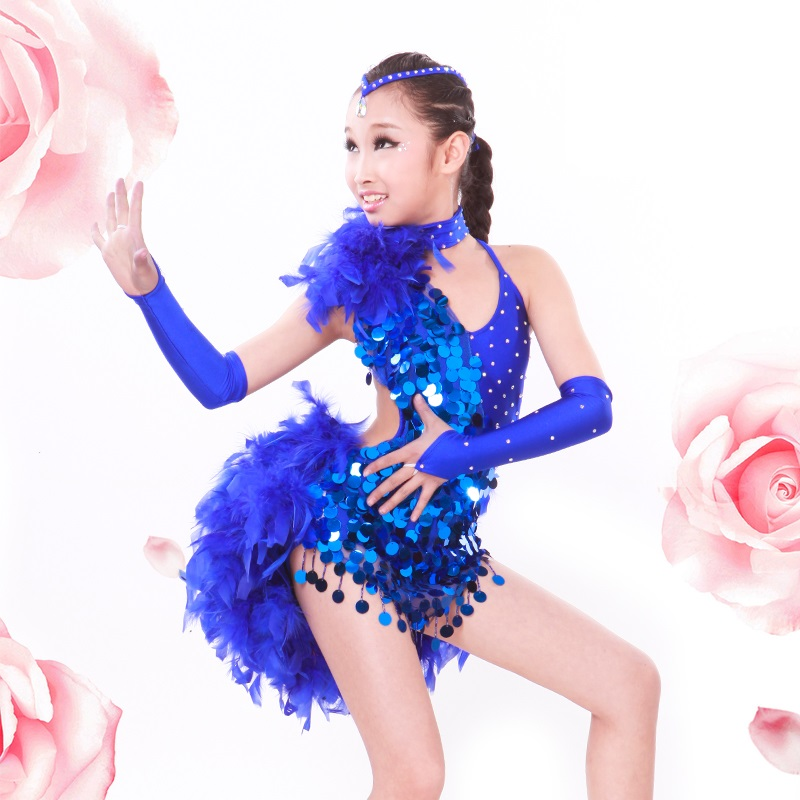 Girls Costume Fringe Samba Skirt Ballroom Dance Wear for Kid Feathers Feather Costumes for Dancing Latin Competition Dresses