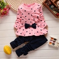 Toddler girl set kids winter children heart bow clothes set bowknots baby girls tracksuits sweatshirts and pants outfit set