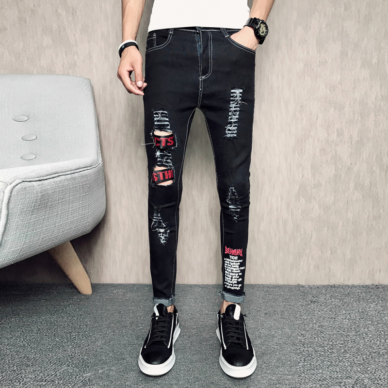 letter print skinny fit jeans men ripped destroyed jean. Black Bedroom Furniture Sets. Home Design Ideas