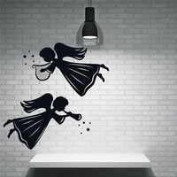 Angels and Saints Decor Wall Stickers Vinyl Decal Angels Winged Beings Harp Light Pipe Design Removable Wall Tattoo
