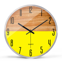 Colorful Yellow Art Mute Wooden Clock Creative Large Watch Digital Wall Clock Modern Design Best Selling 2018 Products 50A0060