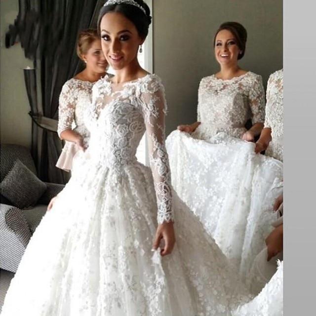 Nowy Przyjazd Koronki Długim Rękawem Muzułmaninem Suknia ślubna 2017