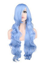 QQXCAIW Long Wavy Cosplay Wig Women Men Party Light Blue 80 Cm Synthetic Hair Wigs
