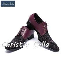Christia Bella Genuine Leather Men Shoes Oxfords Glitter Business Wedding  Italian Dress Shoes Black Men Lace-Up Shoes Men Flats a3abae6b0d53