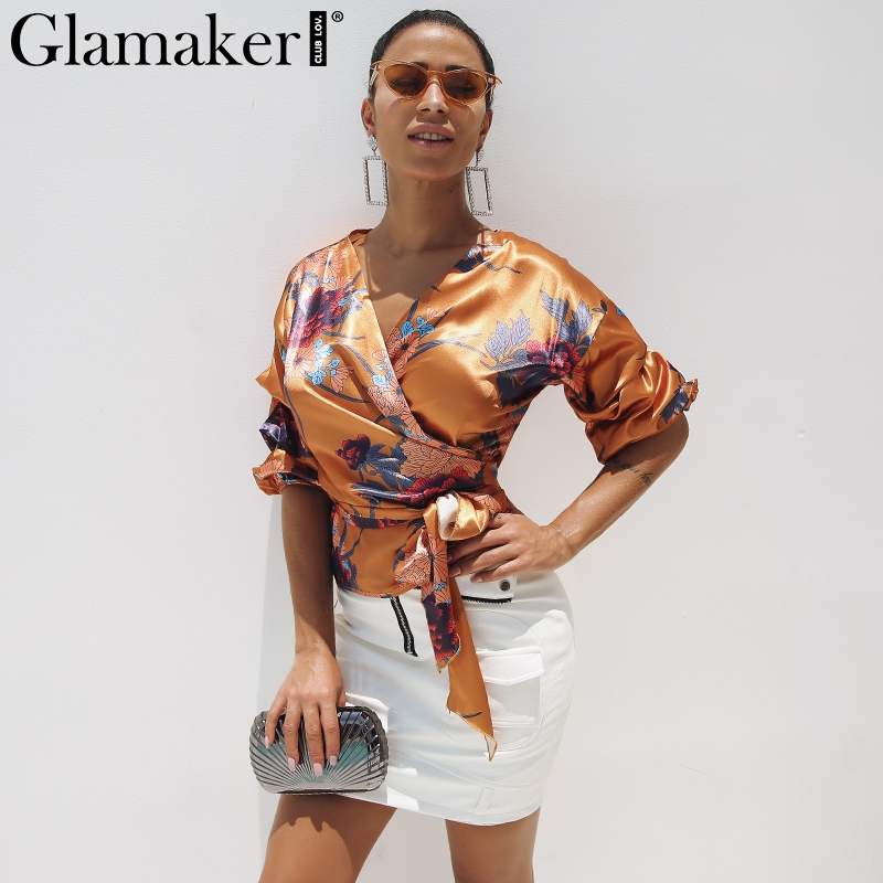 Glamaker Sexy random floral print ladies   blouse   Women   blouses   lace up elegant summer   Blouse     shirt   satin kimono top femme blusas