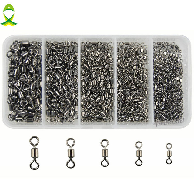 JSM 300pcs size 2 4 6 8 10 Rolling Fishing Swivel Connector Rolling brass Ball Bearing connector with black nickel for fishing
