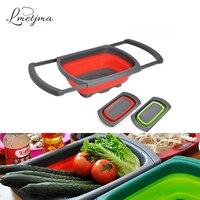 LMETJMA Dobrável Fruta Vegetal Coador Coador Coador Para Pia de Cozinha Cozinhar Cesta do Filtro de Água de Drenagem KC0526-2