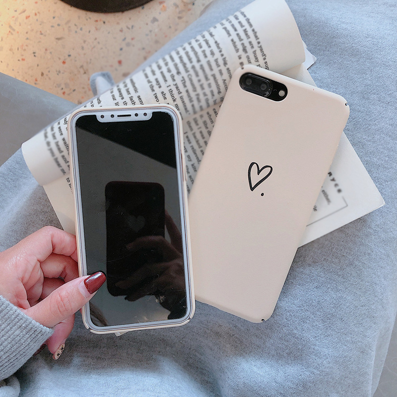 Coque Capa For iphone 7 8 plus 6 6s plus Simple Love Heart Hard PC Phone Case Back Cover For iPhone XS Max XR X 8 Plus Fundas Islamabad
