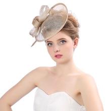 Elegant Cap Fedoras Dress Women Felt Top Hat Party Linen Mesh church hats for black Ribbons Feathers Fascinators Headwewar Girls