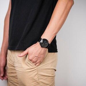 Image 3 - Relogio masculino BOBO BIRD luksusowy męski zegarek minimalistyczny czarny wzór siatka ze stali nierdzewnej pasek wyświetlanie daty prezenty własne logo