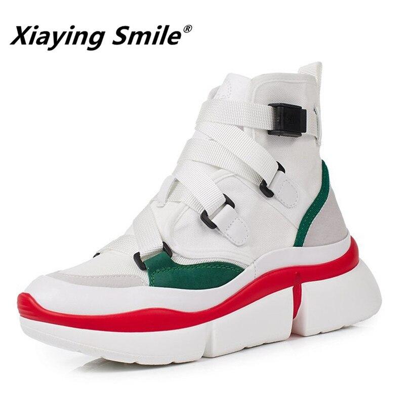 Xiaying улыбка Для женщин весна/Осенняя обувь разноцветные Пряжка теннис ботильоны обувь 2018 Самые популярные на высоком каблуке модная обувь