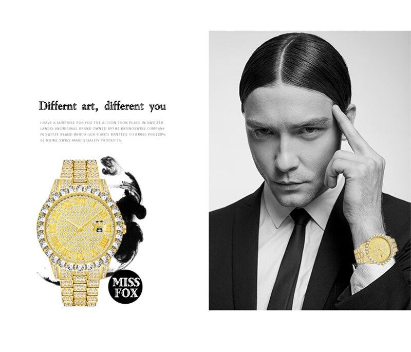 grande pulseira de diamante relógio de luxo masculino caixa de presente