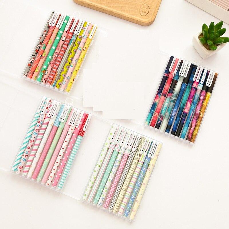 10 pcs canetas de tinta Preta Clássica flor Estrelado estrela assinatura caneta esferográfica para escrever artigos de Papelaria Escola Escritório supply A6366