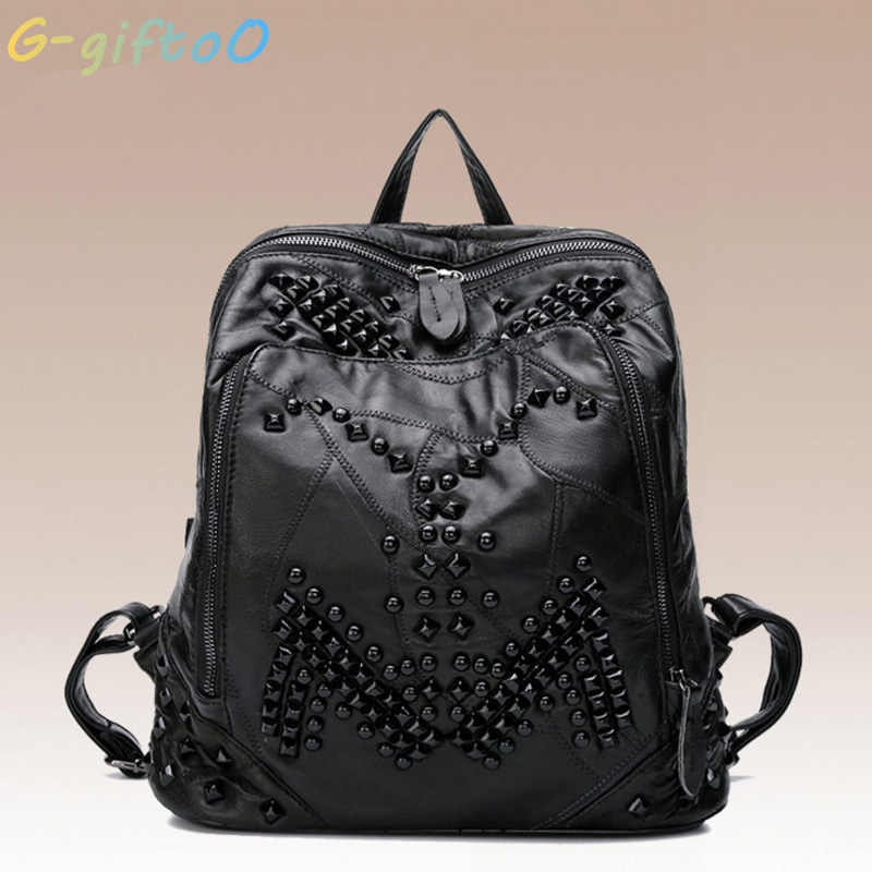G-giftoo Genuine Leather Backpack Rivet Women Bags Preppy Style Backpack Girls School Bags Zipper Large Womens Back Pack