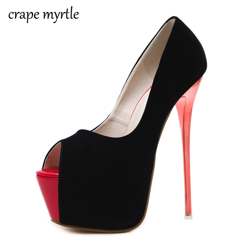 women heels 2018 New Fashion Extreme High Heels Sexy pumps Peep Toe Women Pumps Platform 16cm Stilettos Party Shoes Summer YMA97 lasyarrow brand shoes women pumps 16cm high heels peep toe platform shoes large size 30 48 ladies gladiator party shoes rm317