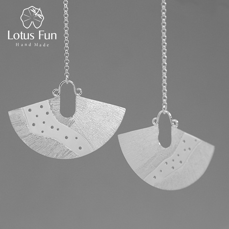 Lotus Fun Real 925 Sterling Silver Natural Pearl Creative Handmade Fine Jewelry Vintage Sector Long Dangle Earrings for Women