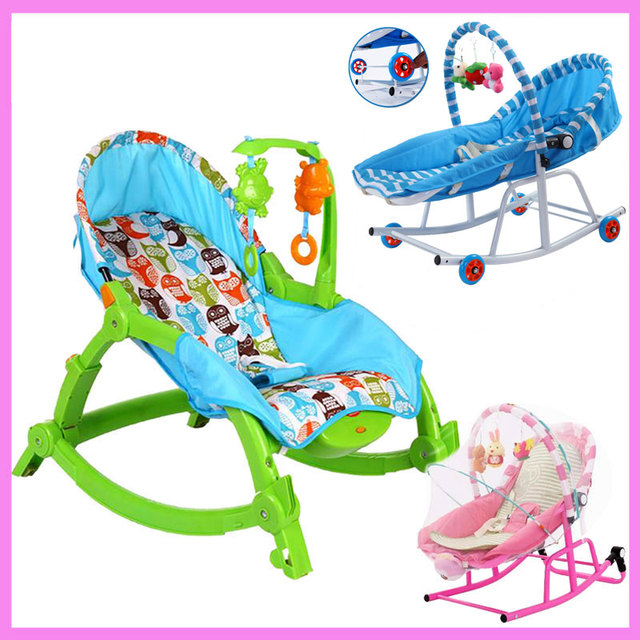Newborn Baby Rocking Chair Comfort Toddler Cradle Deck Chair Sleeping Swing Lounge  Chair Bouncers With Music