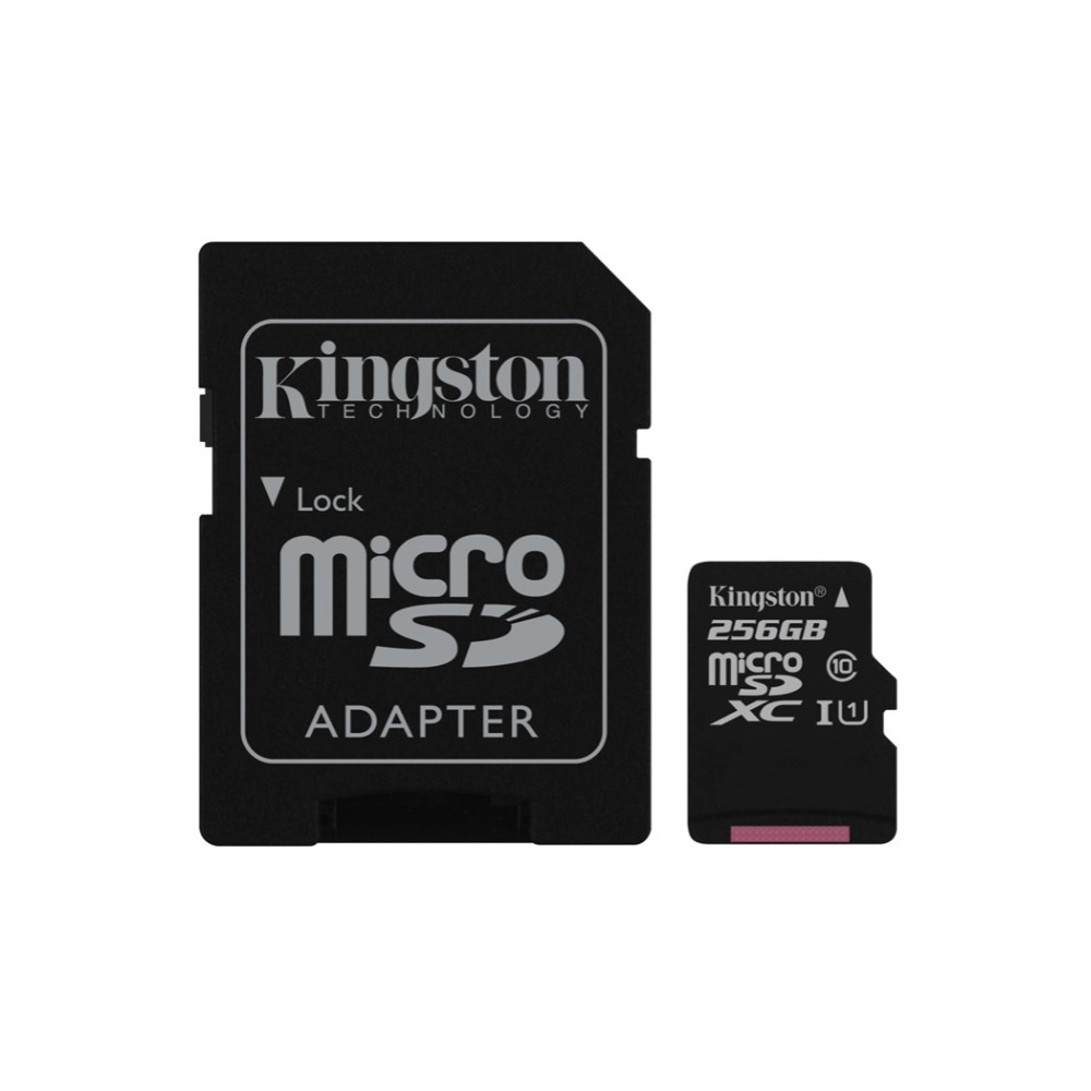 Kingston Technology Canvas Select, 256 GB, MicroSDXC, Class 10, UHS-I, 80 MB/s, Black