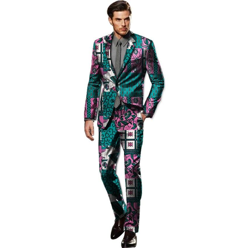 9d26fd99ff124 Afrika erkek takım elbise blok baskılar dashiki blazers ve pantolon 2 adet  set özelleştirilmiş dashiki erkek kıyafetler Afrika giyim