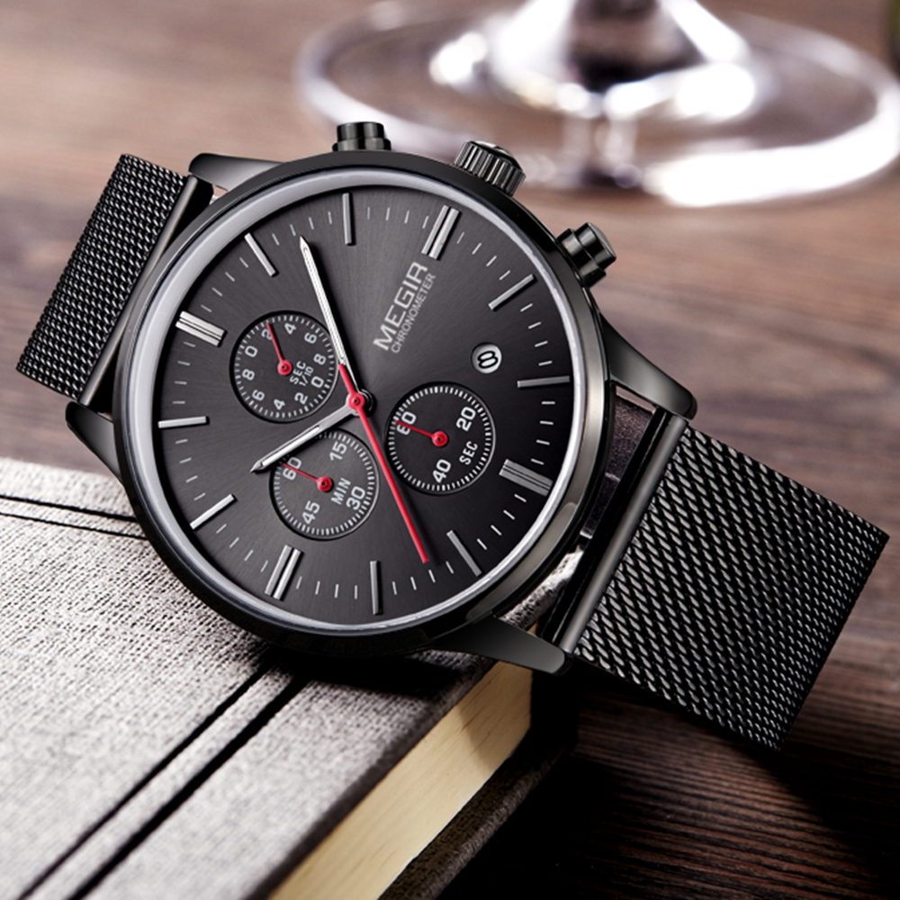 Fashion Luxury Brand MEGIR Watches Men Stainless Steel Mesh Band Quartz Sport Watch Chronograph Men's Wrist Watches Clock Men