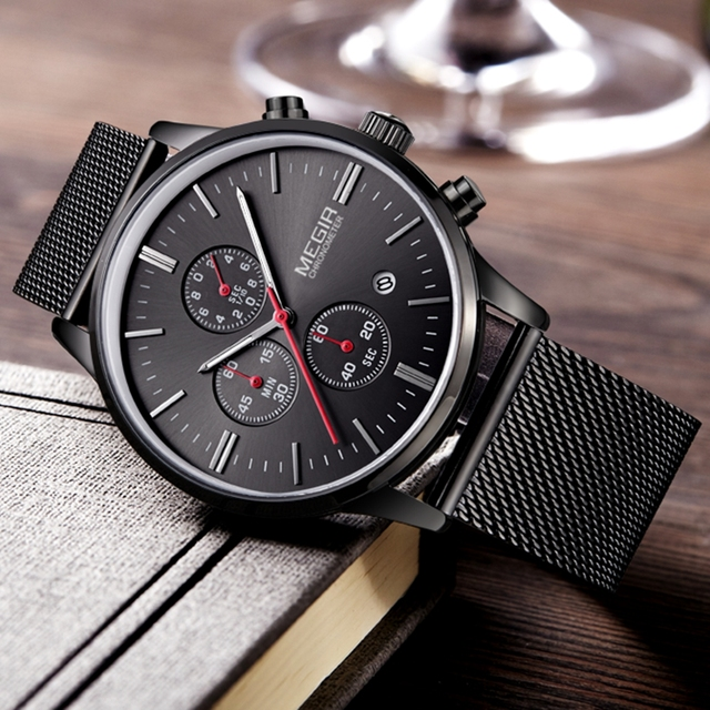 Moda de Luxo Da Marca MEGIR Relógios Homens Banda De Malha De Aço Inoxidável Relógio Do Esporte dos homens do Cronógrafo de Quartzo Relógios Relógio de Pulso Dos Homens