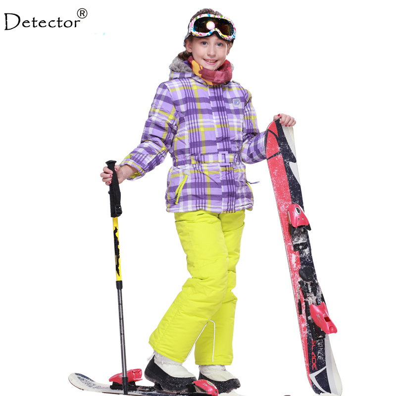 Detector Ski Suit boys and girls Thick Winter clothing set Sports Child Clothes snowboard Jacket and pants set ski jacket стоимость