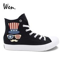 Wen Black Casual Shoes Star Stripes Flip Flops Hat Sunglasses Designs White Canvas Sneakers Women High Top Men Vulcanized Shoes