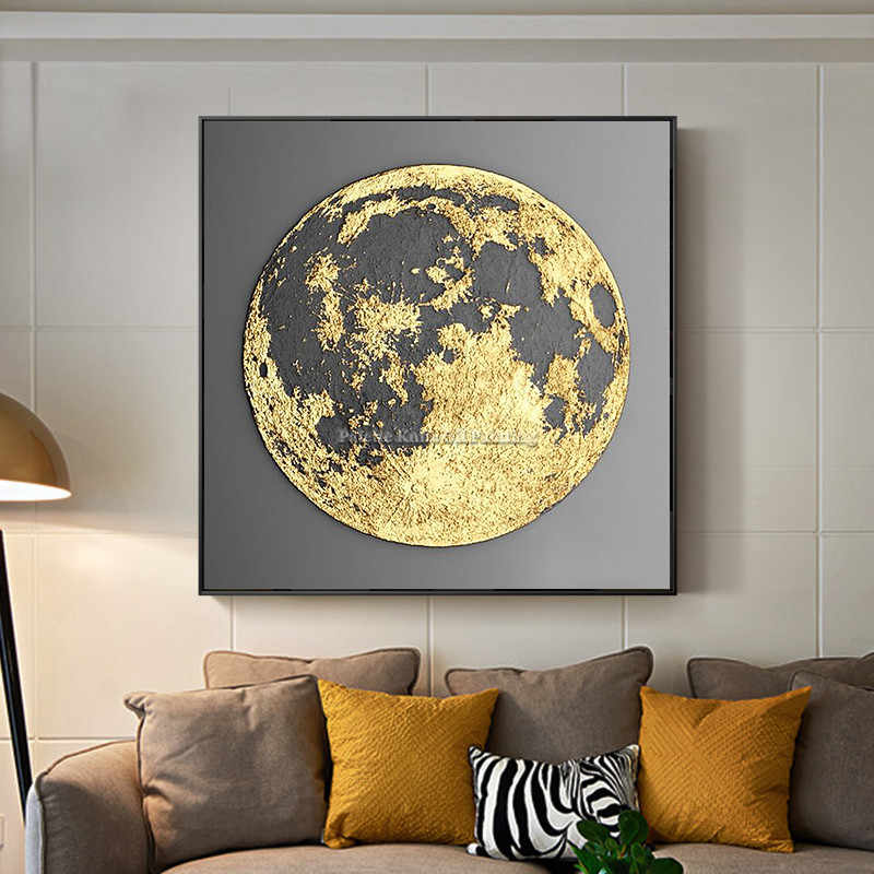 Gold Art Abstract Globe Painting On Canvas Cuadro Decoraction Thick Texture Original Wall Art Picture For Living Room Home Decor