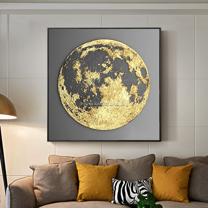 Gold art abstract globe painting on canvas cuadro decoraction thick ...
