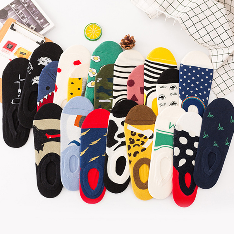 Women Socks Trendy Happy Funny Cotton Boat Socks Ankle Art Men Jacquard Creative Series Harajuku Trend Invisible Couple Socks