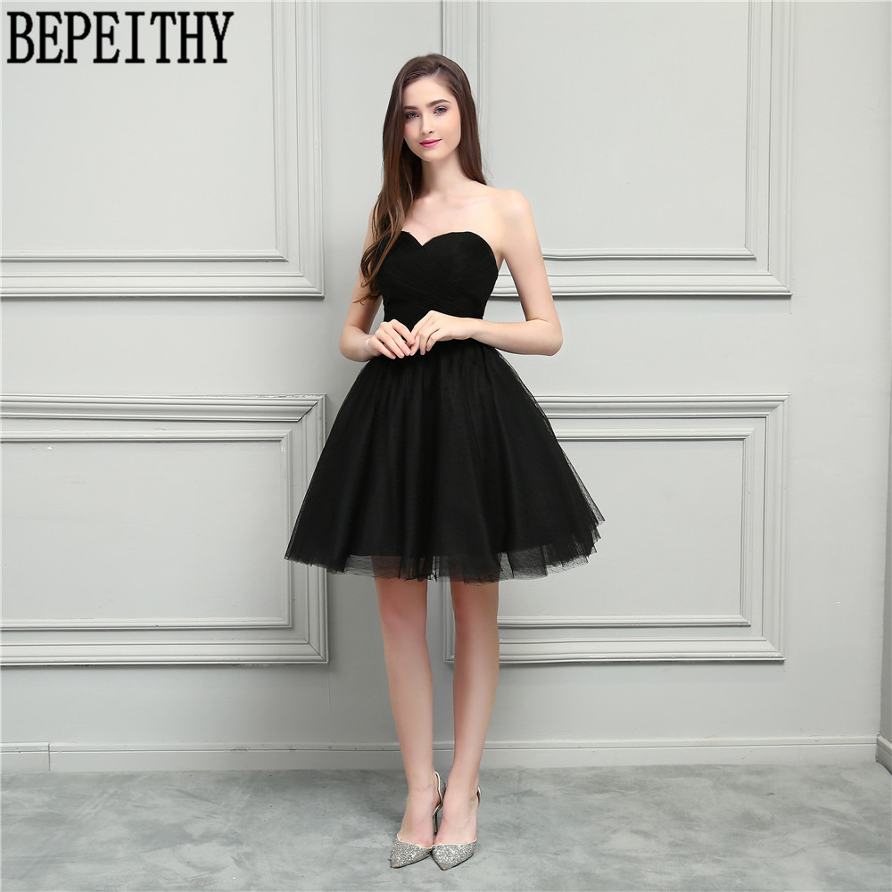 BEPEITHY New Arrival Vestido De Festa Longo V-Neck Little Black Dresses A-Line Short Prom Dresses Bridesmaid Dresses 2018